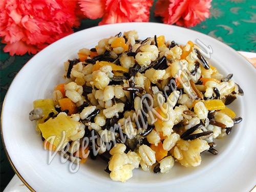 дикий рис с овощами и перловкой
