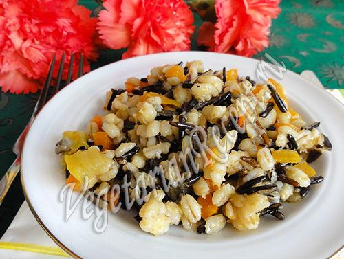 Дикий рис с перловкой и овощами