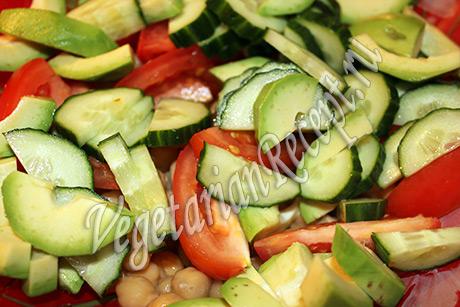 нут с овощами - приготовление салата