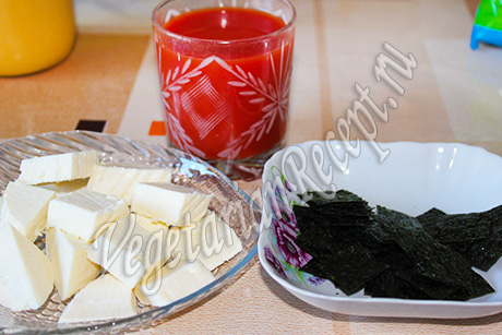 томат, адыгейский сыр и нори