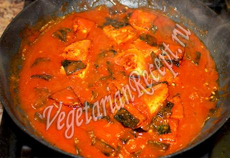 вегетарианская рыба в томате готова