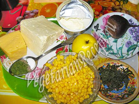 продукты для вегетарианских крабовых палочек и салата