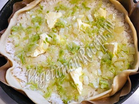 вегетарианский пирог - слой капусты