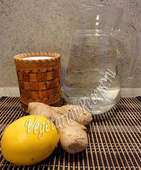 продукты для имбирного напитка с лимоном