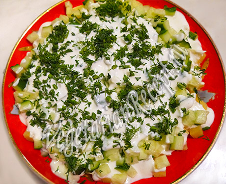 салат с картофелем и огурцом