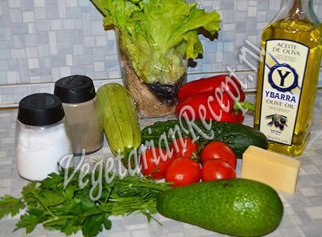 салат с жареными кабачками - продукты