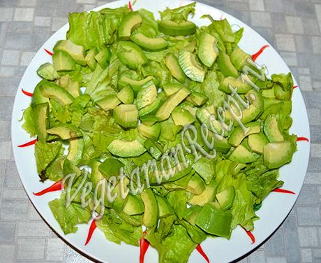 салат с жареными кабачками - авокадо