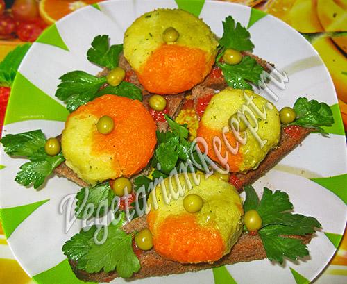 разноцветные шарики из овощного пюре