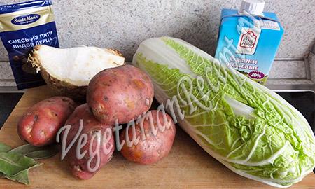 капуста, картофель, сельдерей и сливки
