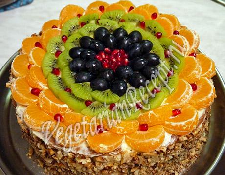Торт с фруктами рецепт. Фото
