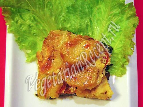 запеченная в духовке вегетарианская рыба с овощами