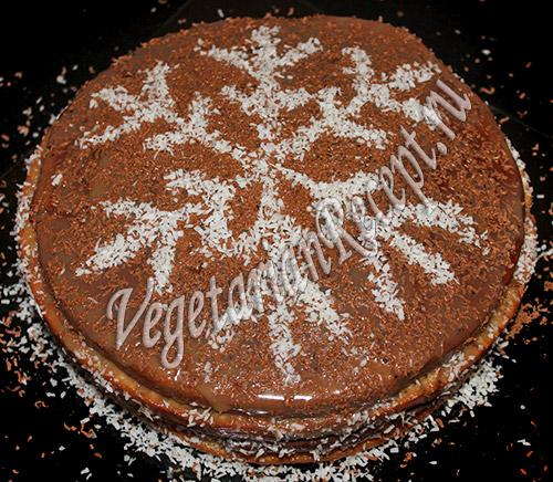 Торт Снежинка с кокосовой стружкой