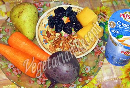 груша, свекла, морковь, сыр и другие продукты