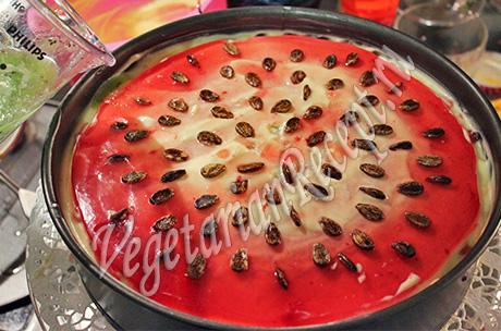 украшаем торт арбуз