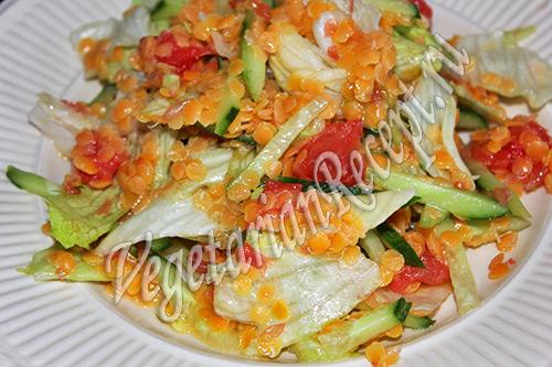 салат с чечевицей - рецепт