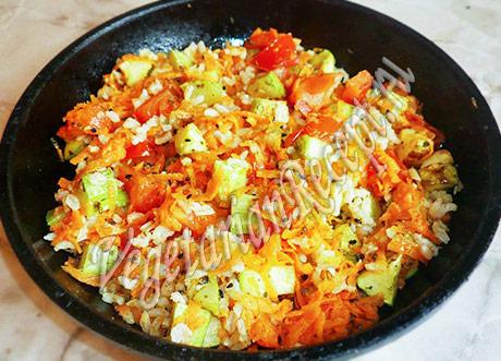 рецепт кабачков с рисом и овощами