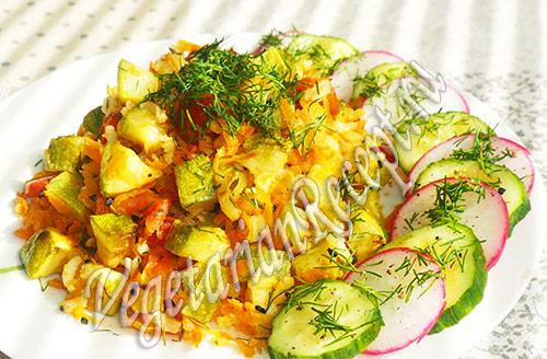 кабачки с рисом и овощами
