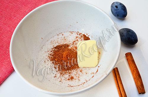 Пирог со сливами - делаем посыпку