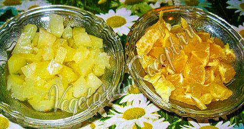 режем фрукты для желе