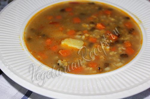постный суп с машем и коричневым рисом