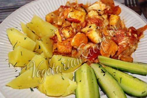 овощи с сыром и гарнир
