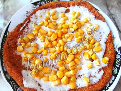 постный омлет с консервированной кукурузой