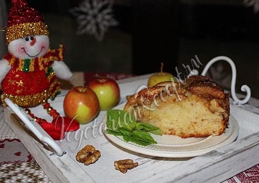 яблочный пирог с орехами фото