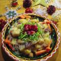 фруктовый салат с орехами и сгущенкой