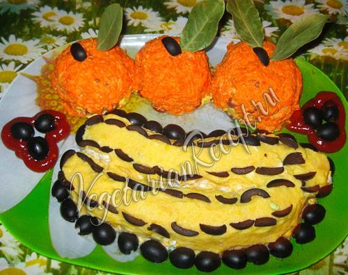 салат в виде фруктов - рецепт