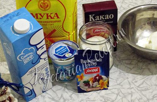 продукты для шоколадного бисквита
