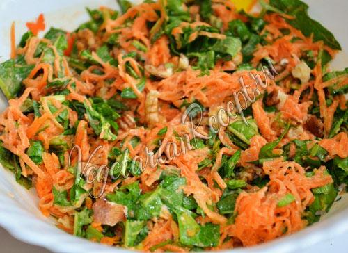 салат с одуванчиками и орехами