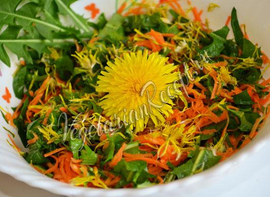 салат из одуванчиков: рецепт