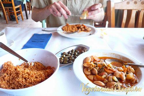 кипрская кухня - пилав и бобы