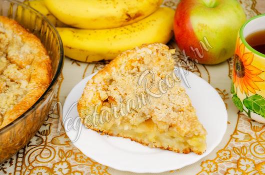 Пирог с яблоками и бананом в мультиварке рецепт