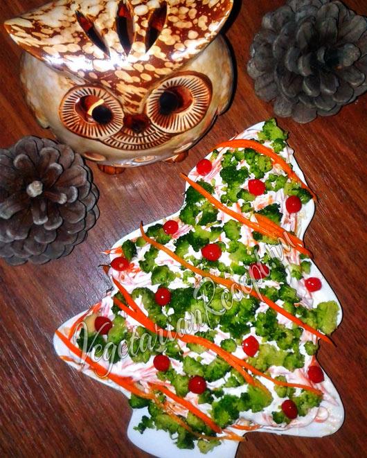Салат с брокколи на Новый год в виде Елки