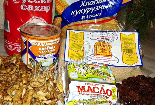Продукты для приготовления новогодних шишек