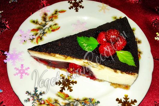 Чизкейк без выпечки с творогом и печеньем - рецепт с фото