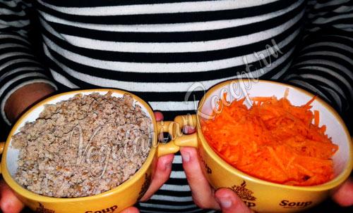 Гречка и морковь для постного фарша