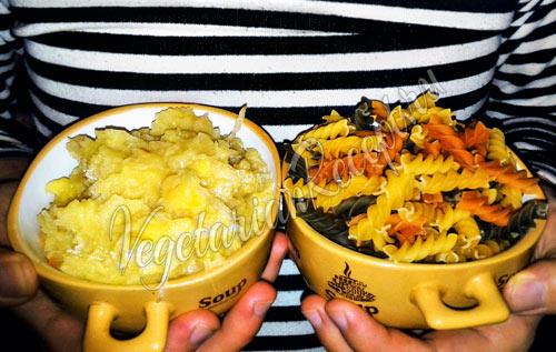Картофельная начинка с капустой и макароны