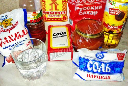 Продукты для постного пирога с вареньем