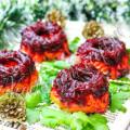 Заливной салат с вегетарианской черной икрой