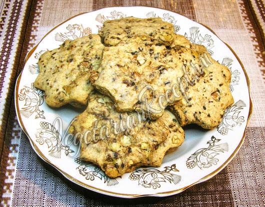 Постное кофейное ореховое печенье