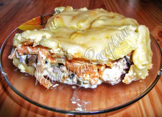 Запеканка из овощей с вегетарианской рыбой из сыра
