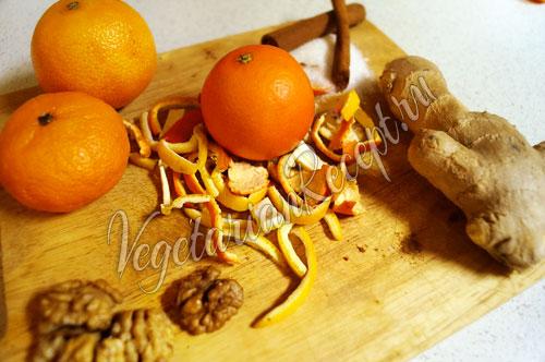 Мандариновые корки, имбирь, орехи