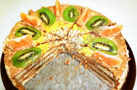 Торт из готовых бисквитных коржей - фото в разрезе