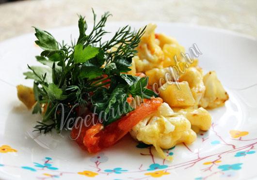 Цветная капуста с картошкой запеченная в духовке