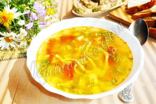 Фото овощного супа с лапшой