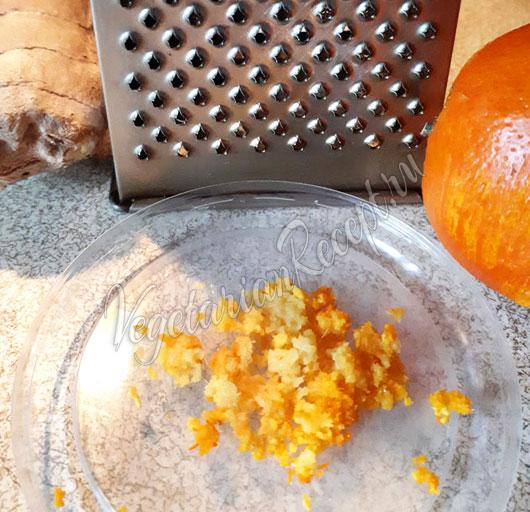 Натираем апельсиновую цедру