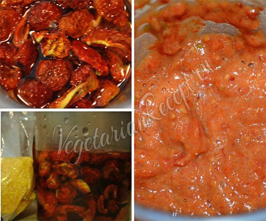Измельчаем сухие томаты