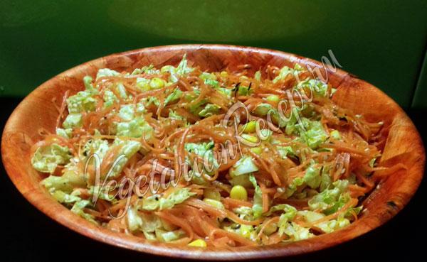 Салат с капустой, с морковью и кукурузой